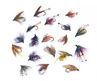 Fishing flies. A colorful assortment of artificial fishing or angling flies or lures Royalty Free Stock Photos