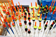 Fishing float bobbers in sport shop Stock Images