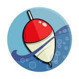 Fishing float colored. Fishing float on the wave. flat round vector colored icon stock illustration