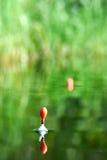 Fishing float on water of lake Stock Image
