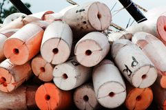Fishing Floats. Are piled on a shrimp boat Stock Image