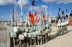 Free Fishing Floats And Nets Drying On Monte Gordo Beach, Portugal Royalty Free Stock Photography - 177576577