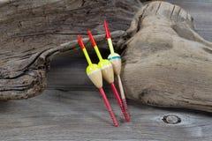 Fishing Floats on Driftwood Royalty Free Stock Photo