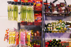 Fishing floats and lines in shop Royalty Free Stock Photo