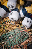 Fishing floats and rope. Floats and rope for lobster fishing in North Rustico, Prince Edward Island, Canada Royalty Free Stock Photography