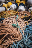 Fishing floats and rope Stock Photos