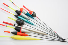 Fishing floats on the white background Royalty Free Stock Images