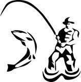 Fishing. Fly fishing - stylized black and white illustration Royalty Free Stock Image
