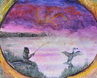 Fishing drawing. A hand drawn watercolor image of a fisherman and a cormorant in the fog. The night is darkest just before the dawn Stock Photos