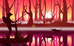 Fishing in forest stock illustration
