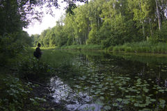 Fishing in forest river Stock Images