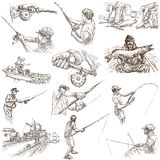 Fishing - Freehand sketches, originals on white. FISHING and FISHERS. Collection of an hand drawn illustrations. Description - Full sized hand drawn Royalty Free Stock Image