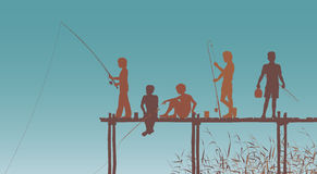 Fishing friends. Editable  silhouettes of children fishing from a wooden jetty Royalty Free Stock Photography
