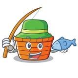 Fishing fruit basket character cartoon. Vector illustration Stock Image