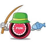 Fishing FunFair coin mascot cartoon. Vector illustration Royalty Free Stock Images