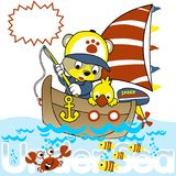 Fishing with funny animals cartoon. Little animals fishing on the sailboat. Vector cartoon illustration, no mesh, vector on eps 10 Royalty Free Stock Images