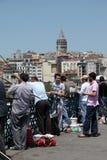 Fishing from the Galata Bridge Stock Image