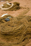 Fishing gear. Primitive, traditional fishing gear on a beach in india Royalty Free Stock Image