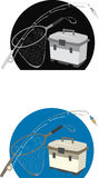 Fishing Gear. Illustration of fishing gear including pole, net and tackle box shown over back and blue stock illustration