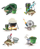 Fishing Gear Accessories 6 Icons Set. Fishing sport tackle gear and accessories 6 icons collection with inflatable boat and spring balance isolated vector stock illustration