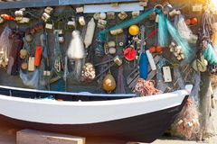 Background with fishing gear royalty free stock image