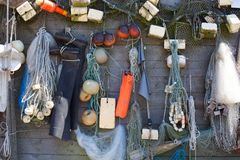 Background with fishing gear royalty free stock photo
