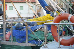 Fishing gear on the deck of the boat. Royalty Free Stock Photography