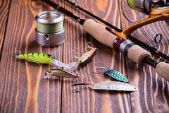 Fishing gear - fishing spinning Royalty Free Stock Image
