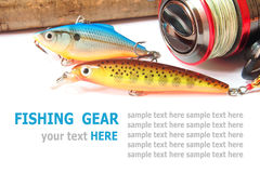 Fishing gear is isolated on a white Stock Images