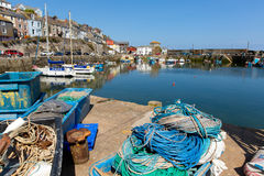 Fishing gear in Mevagissey harbour Cornwall England Stock Image