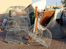 The fishing gear. Fishing nets are ready for a new catch royalty free stock images