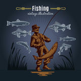 Fishing Gear Vintage Background. Fishing vintage decorative icons composition with drawn style fishes reeds and fisher character on dark background vector Royalty Free Stock Photos