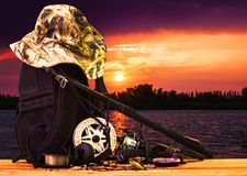 Fishing gear on the waterfront Royalty Free Stock Image