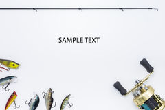 Fishing gear on  white background. And space for text Royalty Free Stock Photography