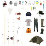 Fishing gear on a white background. Vector illustration Royalty Free Stock Images