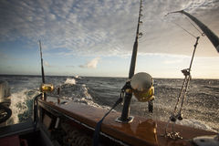 Fishing gear in a yacht Stock Images