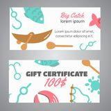 Fishing gift certificate. Big catch text. Banners with quotes about fishing. Flat fish icons, with net or rod. Salmon. Steak and boat, fisher tackles, baits Royalty Free Stock Photo