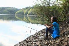 Fishing girl Royalty Free Stock Photos