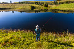 Fishing Girl Lake Mirror  Royalty Free Stock Photos