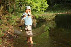 Fishing girl Stock Images