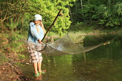 Fishing girl Royalty Free Stock Photos