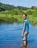 Fishing girl Royalty Free Stock Image