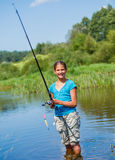 Fishing girl Royalty Free Stock Photo