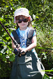 Fishing girls Stock Images