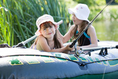 Fishing girls Stock Photography