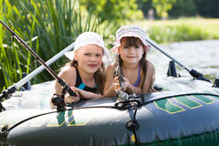 Fishing girls Royalty Free Stock Photography