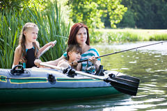 Fishing girls Royalty Free Stock Image