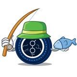 Fishing golem coin mascot cartoon. Vector illustration Stock Images