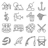 Fishing gray line vector illustration icon set royalty free stock photography