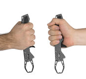 Fishing gripper in hand Royalty Free Stock Image